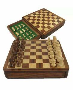 Magnetic travel Chess Set 7X7''  storage MINI INLAID Staunton HandCarved