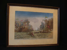 Gravure aquarellée 17ème/18ème siècle naufrage, en Corse, de navire vénitien