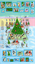 Penguins On Ice Advent Calendar Cotton Quilting Panel Fabric