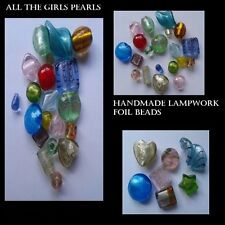 15 Handmade Lampwork Foil Glass Beads. Mixed Size & Colour. (BOX65)
