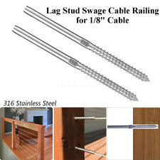 """2Pcs/set T316 Stainless Steel Lag Stud Hand Swage Cable Railing for 1/8"""" Cable"""