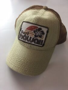 Surf Hawaii Straw Front Mesh Back Truckers Hat Adjustable Snap Back