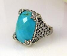 Estate Judith Ripka Sterling Silver Tourquoise Quartz Diamonique Monaco Ring