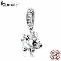 BAMOER S925 Sterling silver Women Charms Delicatede piggy Dangle Fit Bracelet