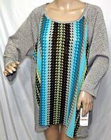Ruby Rd. Women Plus Size 2x Blue Gray Chiffon Chevron Tunic Top Blouse Shirt