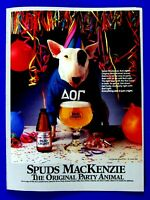 "1987 Bud Light Spuds Mackenzie Original Party Animal Print Ad 8.5 x 11"""
