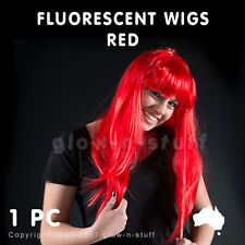 1 X FLUORESCENT WIG RED UV PARTY DISCO NEON FLURO UV DANCE
