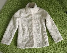 H&M Modisch Jacke Pelz Weiß Warm Winter Mode Mädchen Gr.158          NEU