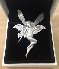 'TINE' PEWTER - ART NOUVEAU STYLE VINTAGE FAIRY BROOCH - ALSO WORN AS A PENDANT