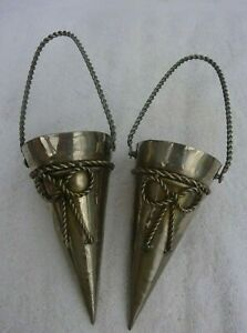 Vintage pair of silver metal posy holders with rope handles decorative bows