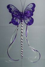 FLOWER GIRL OR BRIDESMAID CADBURY PURPLE AND IVORY BUTTERFLY WAND WITH CRYSTALS