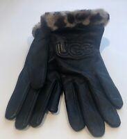 (NWT) Women's UGG Classic Leather Logo Gloves, Black W/Leopard Cuff Size S