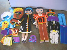 """DOLL FAMILY FOAM with CLOTHES 2 DOLLS + 17 CLOTHES ACCESSORIES 9"""" tall"""