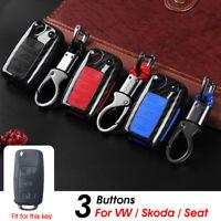 3 Button Remote Key Fob Case Carbon For VW Passat Golf 4 5 6 MK6 Skoda Octavia