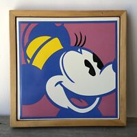Disney Pop Art Wall Hanging Minnie Mouse Framed Tile Japan Andy Warhol Style