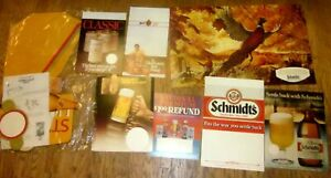 Vintage Schmidt & Strohs BEER Many Advertisement Posters, displays Pheasant Dog