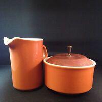 Vintage Mid Century Modern Cream Sugar Set Orange Wood Lid Metal Handle Atomic
