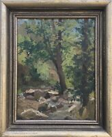 Ölgemälde Impressionist Deutscher Maler Studie Skizze am Waldbach signiert 45x37