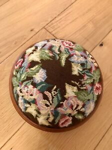 Vintage Wooden Tapestry Round Footstool/Rest - Brown Floral - Bun Feet - Padded