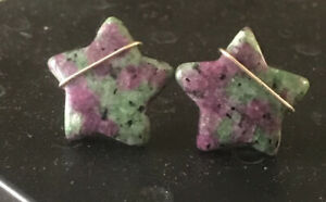 ruby in zoisite earrings Star 14k gold filled wire wrapped