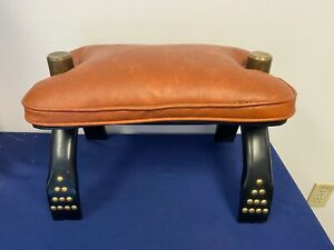 Vintage Leather Saddle Chair with Black Wooden Legs SR