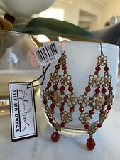 $1195 Stephen Dweck Chandelier Red Faceted Agate Bronze Flower Earrings Long NWT