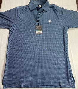 FootJoy Men's Heather Lisle Houndstooth Blue Golf Polo Shirt ProDry Size Small
