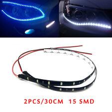 2pcs 30CM 15 LED Car Flexible Strip Home Decor White Light Lamps 12V Waterproof