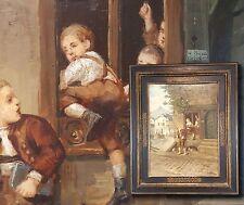CARL EHRENBERG 1840-1914 Dresden truants. Antique Oil painting Late romanticism