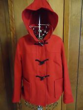 "Womens Large Old Navy 24"" Red Hooded Wool Blend Winter Pea Coat"