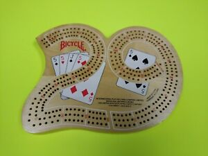 Bicycle 29 Solid Wood Cribbage Board. No Pegs. Very Good three track board. 🦈