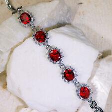 "15Ct Ruby & White Topaz Victorian Style Silver Bracelet 7"" Gbr158"