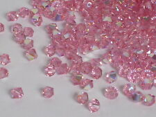 50 Stk. SWAROVSKI PERLEN 5328 Xilion Beads, 4 mm, Light Rose AB Bicone DIY