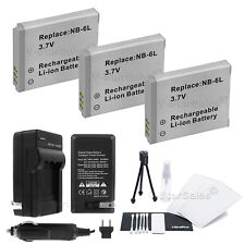 3x NB-6L NB-6LH Battery+Charger for Canon SD1200 SD3500 SD4000 SX240 SX260 SX500