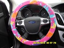 NEW STEERING WHEEL COVER TIE DYE BLUE PINK YELLOW ORANGE