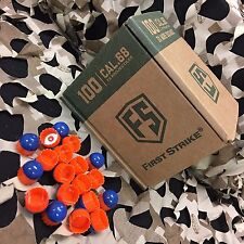 NEW First Strike Paintball Rounds - 100 Count - Blue/Orange Shell - Orange Fill