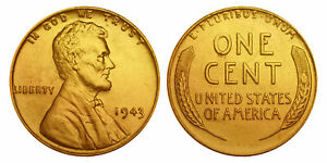 1943 Genuine Steelie WWII Lincoln Wheat Wartime Penny 24K GOLD PLATED (QTY: 10)