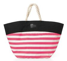 VICTORIA'S SECRET HOT PINK STRIPE ROPE STRAPS BEACH BAG SWIM TOTE CANVAS PURSE