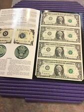 1995 United States of America $1 Dollar notes 4 note uncut sheet