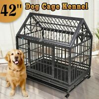 """37""""/42"""" Large Heavy Duty Metal Dog Crate Pet Kennel Cage Playpen w/Tray & Wheels"""