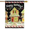 """Gingerbread Christmas House Flag Holiday Candy Canes Wreath Winter 28"""" x 40"""""""