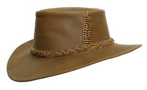 Kakadu Traders Australia Cobram Leather Hat in brown   Clearance