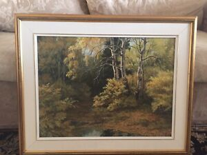 """September Forest by Isabel Levesque Acrylic on Board 18"""" x 24"""" Framed and Matted"""