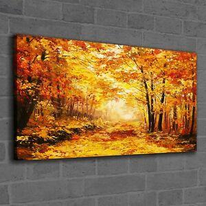Canvas Print Photo Picture landscape painting autumn trees forest leaves 120x60