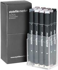 Stylefile Marcadores Conjunto de 12-Gris Cálido Set