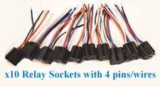 (10) 4-Wire Relay Sockets Connector 12 Volt Car Alarm Automotive Plug Socket 12v