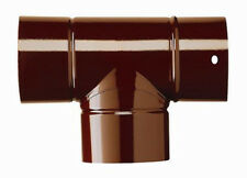 Tubo raccordo a T 90° stufa canna fumaria acciaio porcellanato marrone SAVE d.12