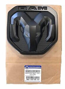NEW 2019-2020 Dodge Ram 1500-3500 MATTE BLACK RAMs Head Logo Tailgate EMBLEM,OEM