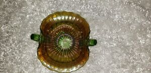 "Mosser Hunter Green Carnival Glass ""Beaded Shell"" Contemporary 7 3/4"" long 6"""