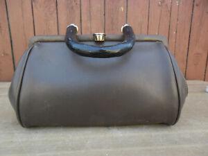kleine Handtasche Arzttasche Hebammentasche Ledertasche  alt Vintage braun